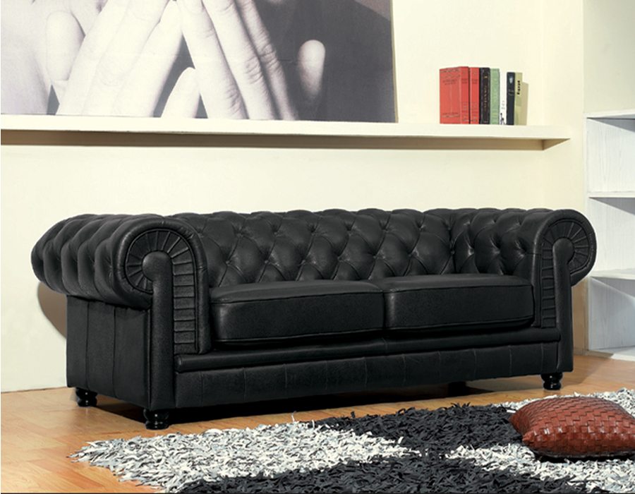 Details about Chesterfield 3 Seater Black Leather Sofa